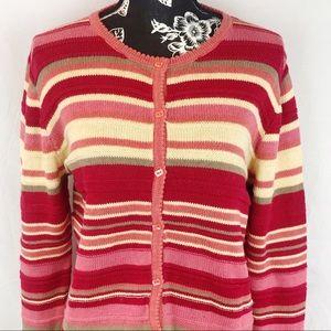 Christopher & Banks striped cardigan sz M